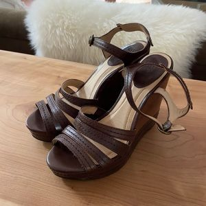 Frye 'Corrina Stitch' Wedge Sandal Dark Brown